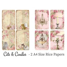 Cats & Candles Pack of 2 Rice Paper A4 By Get Inspired