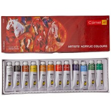 Camel Camlin Kokuyo Acrylic Color Box - 9ml Tubes, 12 Shades