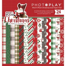 "Double-Sided Paper Pad Mad 4 Plaid Christmas, 12 Designs/2 Each by Photo Play 6""X6"" 24/Pkg"