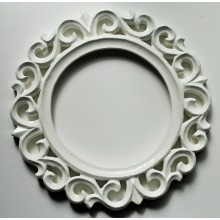 "Deco White Glossy Finish Vine Carved Vintage Round Frame 9""x9"""