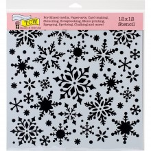 "Stencil 12""X12"" Crafter's Workshop Template - Snowflakes"