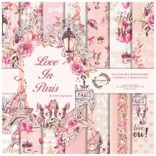 "Love in Paris Double-Sided Paper Pad 12""X12"" 14/Pkg 14 Designs 2 Designs Each"