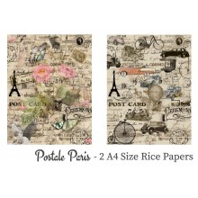 Postale Paris Pack of 2 Rice Paper A4 By Get Inspired