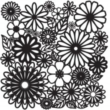 "Stencil Crafter's Workshop Template 12""X12"" - Flower Frenzy"