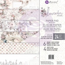 """Lavender Frost, 6 Foiled Designs/4 Each Prima Marketing Double-Sided Paper Pad 12""""X12"""" 24/Pkg """