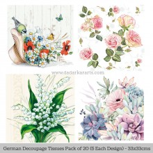 Floral 4 German Tissue Pk/20 (5 Designs Each) 33x33cms By Ambiente Luxury papers
