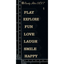 "Mini Tags Smile BLACK 6""x3"" Chipboards"