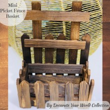 "Mini Picket Fence Wooden Basket 8.5""x 5""x 11.5"" by Decorate Your World Collection By Get Inspired"