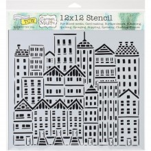 "Stencil 12""X12"" Crafter's Workshop Template  - City Buildings"