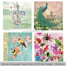 Love Birds German Tissue Pk/20 (5 Designs Each) 33x33cms By Ambiente Luxury papers