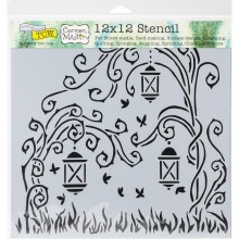 "Stencil 12""X12"" Crafter's Workshop Template - Lanterns"
