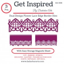 Dual Design Flower Lace Edge Border Dies - Set of 3 Dies