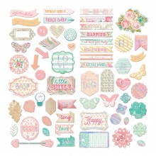 Adhesive Chipboard Heaven Sent 2 Self- with Sequins by Prima
