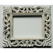 "Deco White Vine Carved Vintage Rectangle Frame 12""x10"""