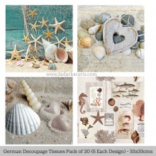 Sea Treasures German Tissue Pk/20 (5 Designs Each) 33x33cms By Ambiente Luxury papers
